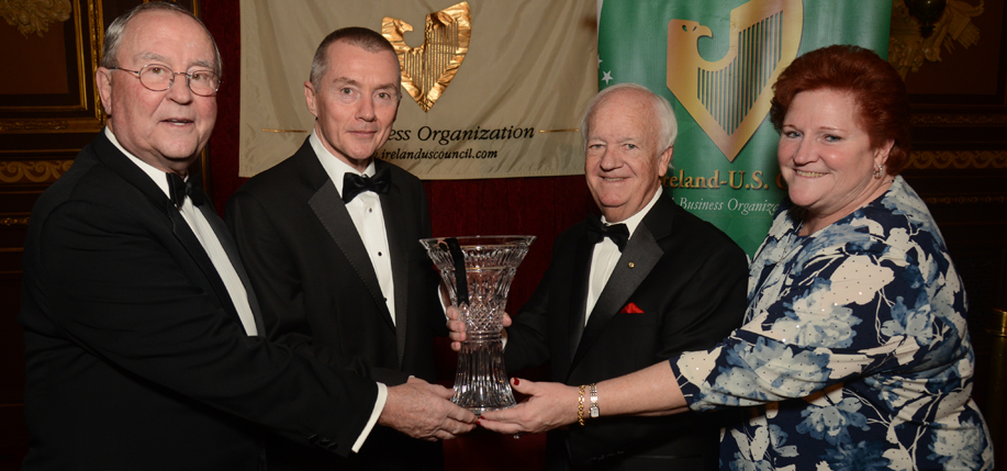 John Fitzpatrick  (President, Fitzpatrick Hotel Group New York), Willie Walsh (Chief  Executive Officer, IAG) who received the 2016 Award for Outstanding Achievement, Brian Stack (President, The  Ireland- US Council) and Barbara Koster (Senior VP, Prudential Financial). Photo: James Higgins.