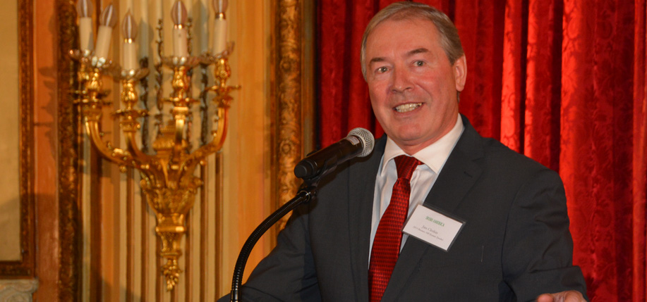 Jim Clerkin, president and CEO of Moët Hennessy North America speaks at the Irish America Business 100 awards in 2015. Photo: Nuala Purcell.