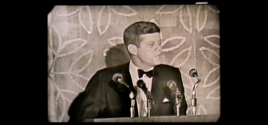 John F. Kennedy addresses the Anti-Defamation League on their 50th anniversary, January 1963. (YouTube)