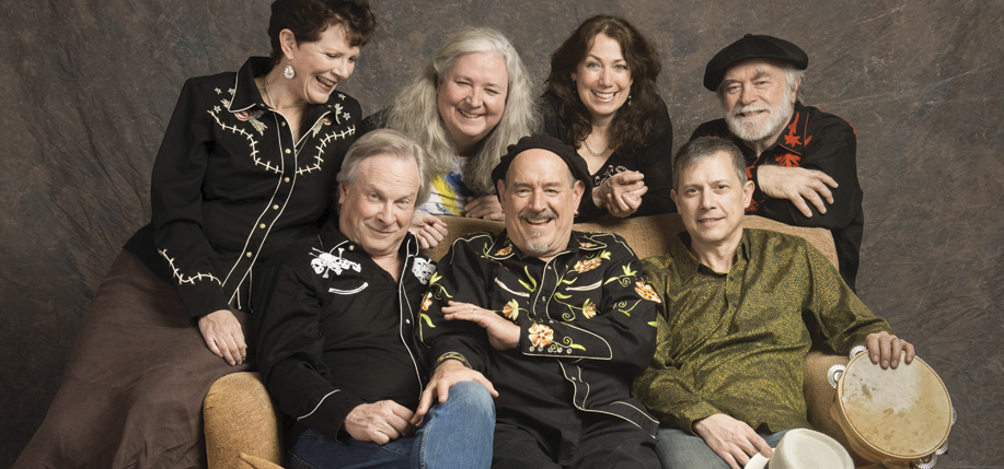 Left to Right: (Back row) Sylvia Herold, Maureen Brennan, Cindy Brown, and Kevin Carr. (Front) Danny  Carnahan, Paul Kotapish, and Brian Rice. Photo courtesy Wake the Dead.