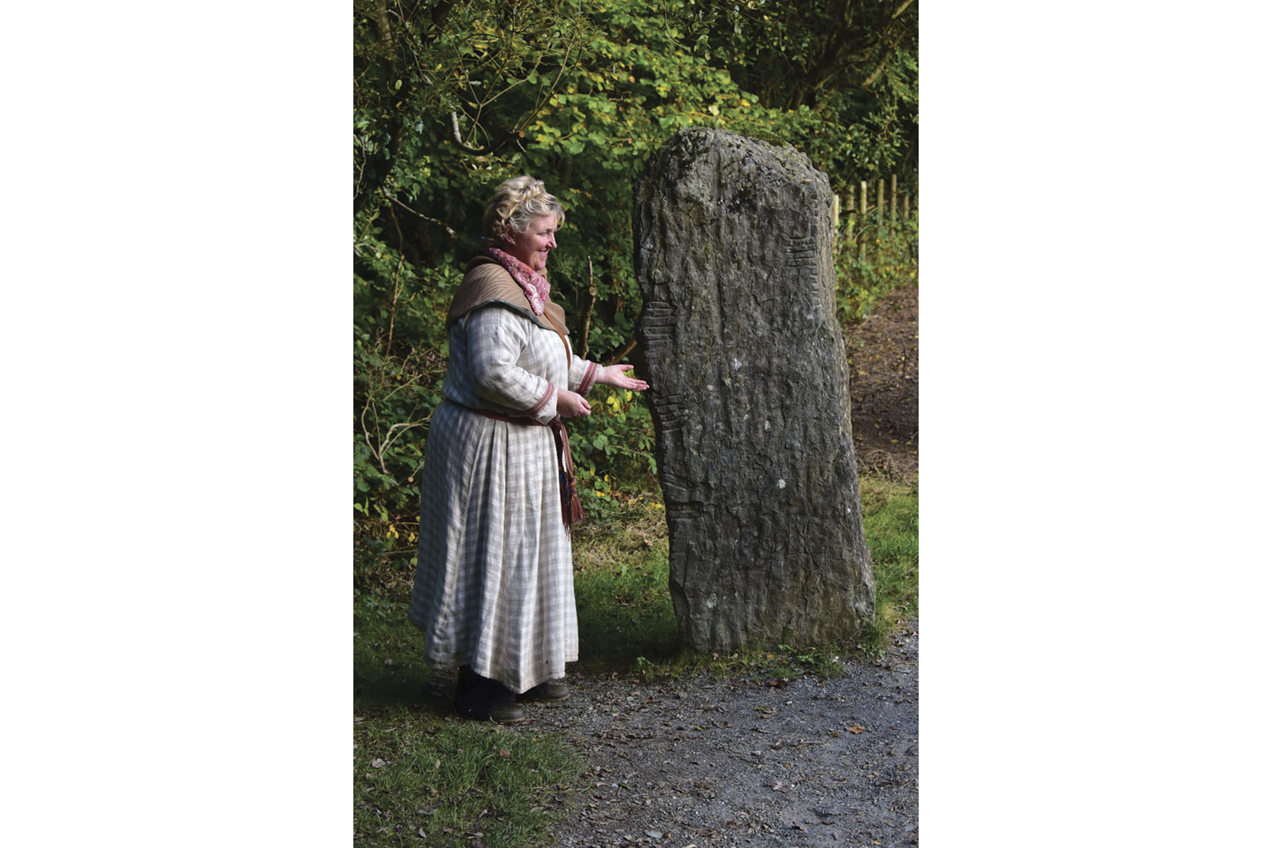 Ogham stones being explained at the national heritage park.
