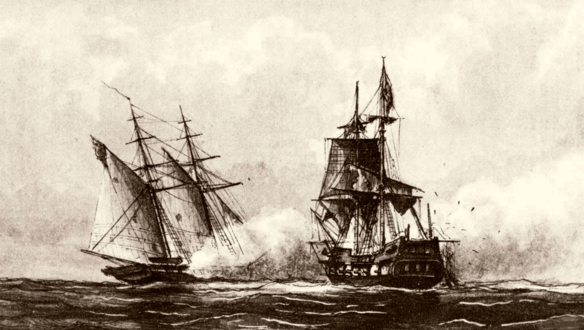 U.S.S. Enterprise capturing the Tripolitan corsair Tripoli off Malta 1 August 1801. From a drawing (c. 1878) by Capt. William Bainbridge Hoff, U.S. Navy. Photo from the U.S. National Archives.