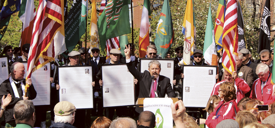 Keynote Speaker Patsy Kelly addresses the crowd at the Philadelphia Easter Rising Centenary commemoration at Independence Hall. (Photo: C. Keenan)