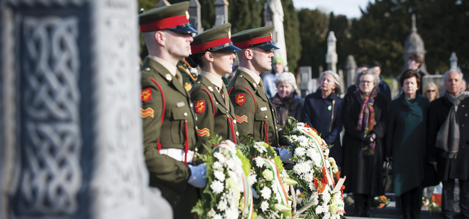 The wreath-laying ceremony, Sunday, March 27, at Glasnevin Cemetery. Photo: Maxwells