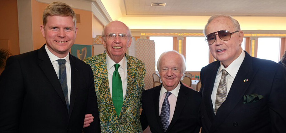 Seen at the Ireland-U.S. Council's 2017 Winter Meeting in Palm Beach, Florida were (from left) Shane Stephens, Consul General for Ireland for the Southeast United States; Michael J. Gibbons, Chairman of the 2017 Winter Meeting; Brian W. Stack, President of the Ireland-U.S. Council; Guest Speaker Brian Burns, the next United States Ambassador to Ireland.