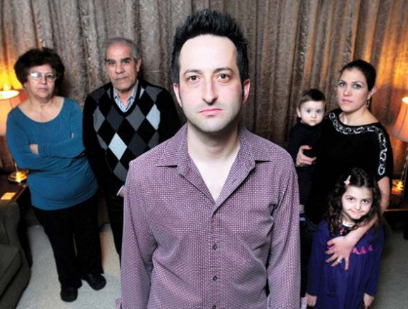 Connor (center) with his wife, Reem, and their two children, Jude and Fayrouz (right), and Reem's mother Raghda (far left), a retired public school teacher who was  detained by the Assad regime for attempting to protest in Damascus in 2011, and  father Taha (second left), whose family's homes have been destroyed by shelling. (Photo courtesy Dylan Connor)