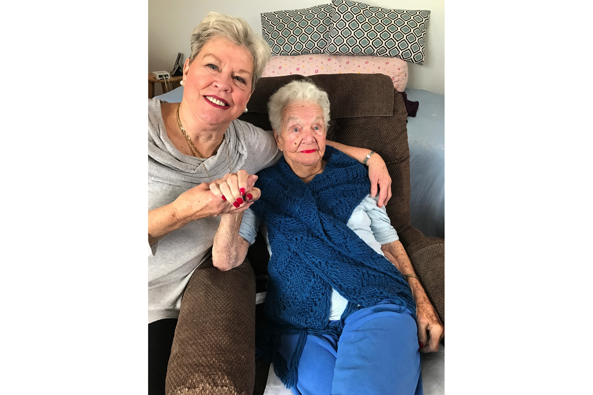 "Rosamond with her daughter, Kathleen ""Kathie"" McLauchlen, February 2017."