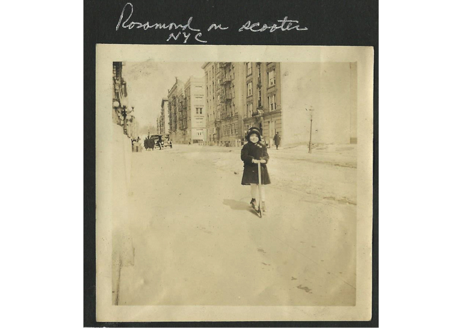 Rosamond on a scooter in New York City, c. 1915.