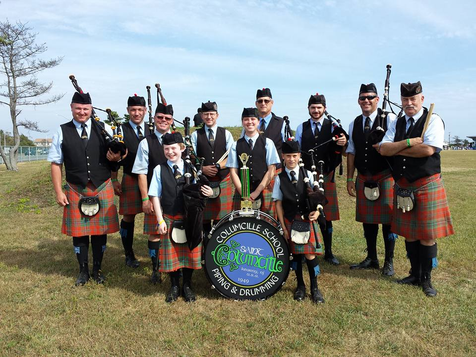 The St.  Collumcille School  of Piping and  Drumming band.