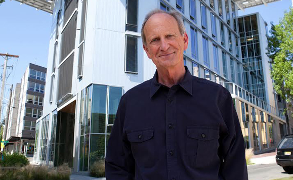 Earth Day founder Denis Hayes stands in front of the headquarters for Hayes's Bullitt Foundation in Seattle, the most energy efficient office building in the world. (Photo: Bullitt Foundation)