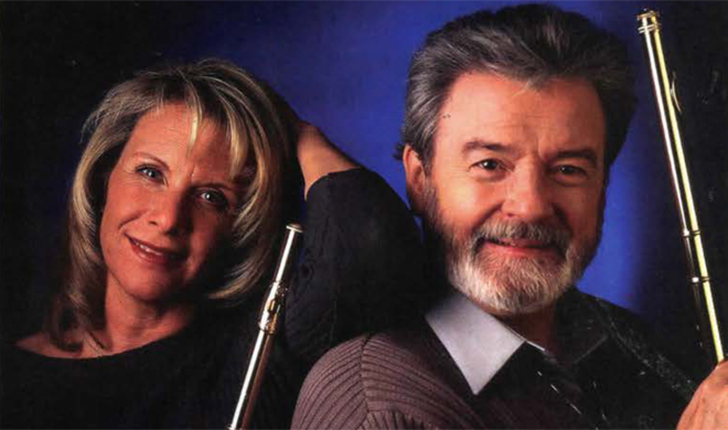 Sir James Galway with his wife, Lady Jeanne. (Photo: Hanya Chayla)