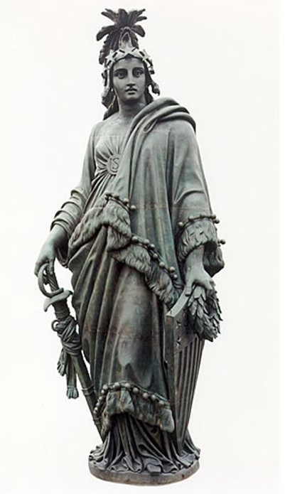 Freedom  Triumphant in War  and Peace (1863) is  the crowning feature  of the Dome of the  U.S. Capitol. The  bronze statue stands  19 ft. 6 in. tall and weighs approximately 15,000 pounds. (Photo: Architect of the Capitol)