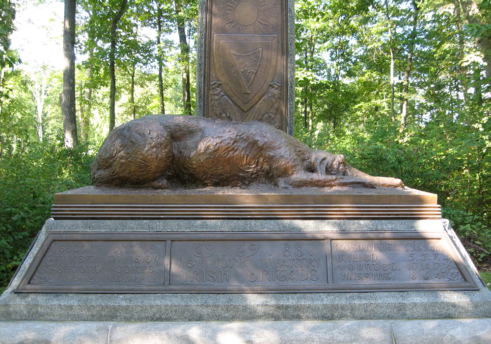 The Irish Brigade monument, where anwolfhound sleeps at the foot of a Celtic Cross. (Photo: gettysburg.stonesentinels.com)