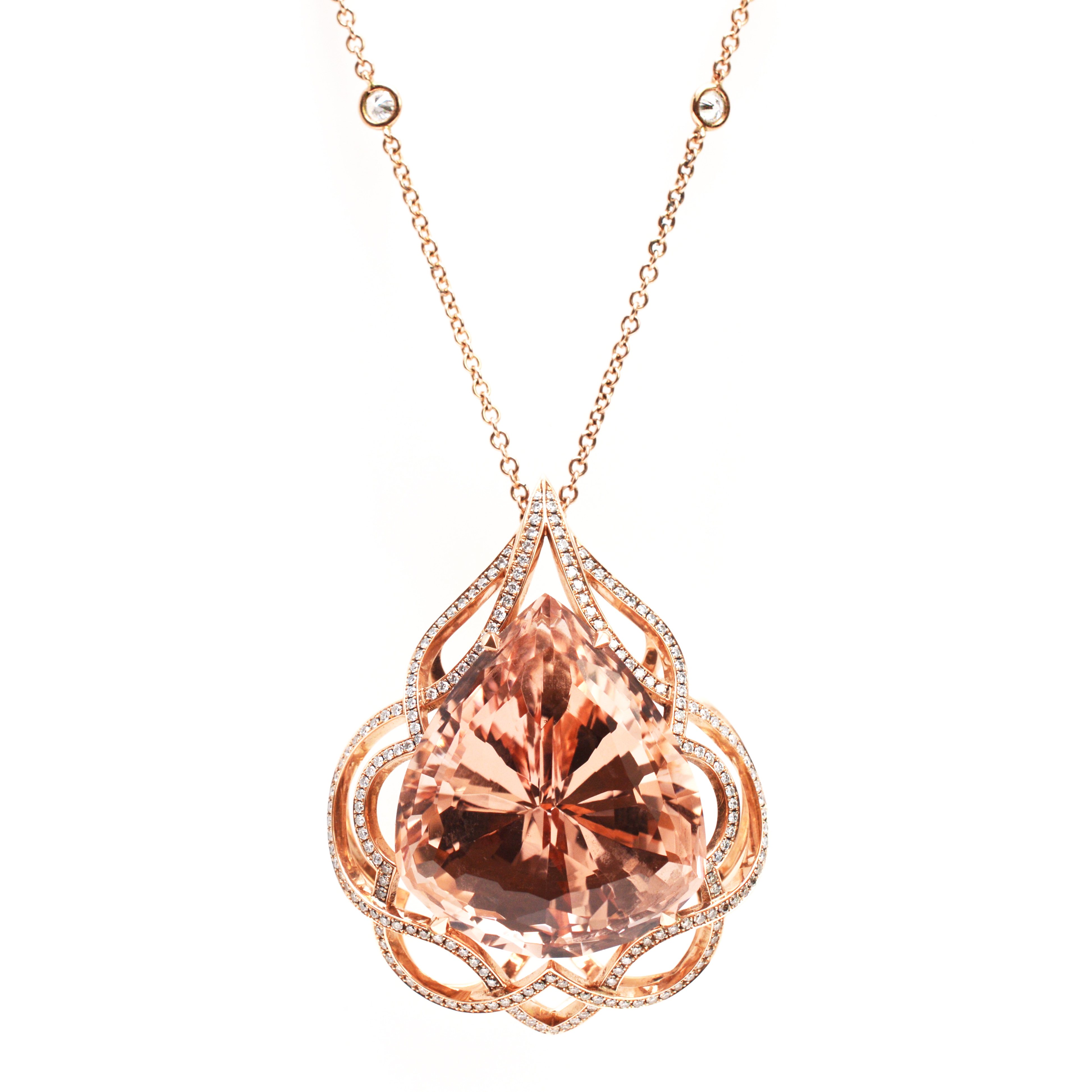 gold precious and diamonds pendant rose with morganite brilliant pendants semi round