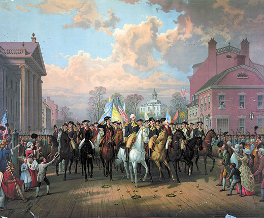 """""""Evacuation Day"""" and Washington's Triumphal Entry in New York City, Nov. 25th, 1783 (Chromolithograph By; Ludwig Restein)"""