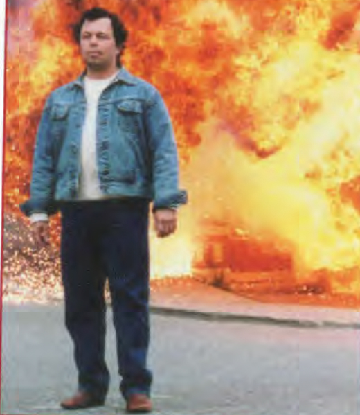<em>IRA bomber Broderick Dooley (Curtis Armstrong) walks away from handiwork.</em>