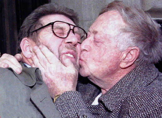 <em>Abe Hirschfeld, former owner of the</em> Post<em>, kisses Hamill, who spent a bizarre five-week stint in 1993 as editor while the tabloid fought for survival.</em>