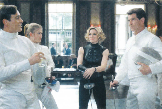 <em>Brosnan shows Madonna the fencing ropes in </em>Die Another Day.