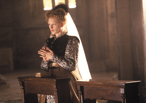 <em>Blanchett plays the queen in <strong>Elizabeth</strong>.</em>