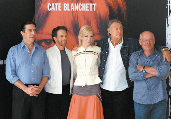 <em>Left to Right: Ciaran Hinds, Jerry Bruckheimer, Cate Blanchett, Joel Schumacher and Gerard McSorley.</em>