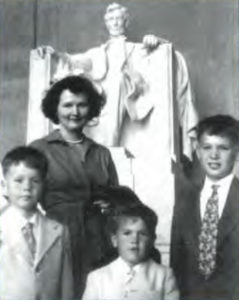 The Matthews Family at the Lincoln Memorial, 1954: Mary Matthews with sons (left to right) Chris, 8, Jim, 5, and Herb, 10.