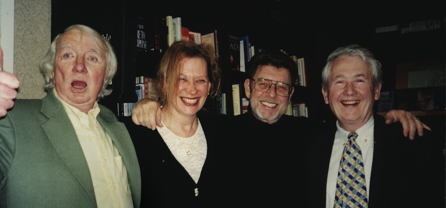 The late Dennis Duggan, Judy Joice, Pete Hamill and Frank McCourt at a Barnes & Noble tribute to the Lion's Head