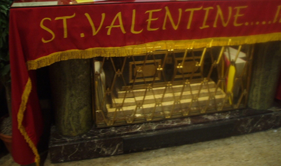 The casket containing the reliquary of St. Valentine, Whitefriar Street Church, Dublin.