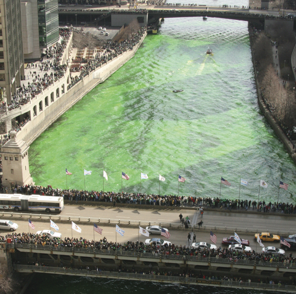 The Chicago River goes green on St. Patrick's Day