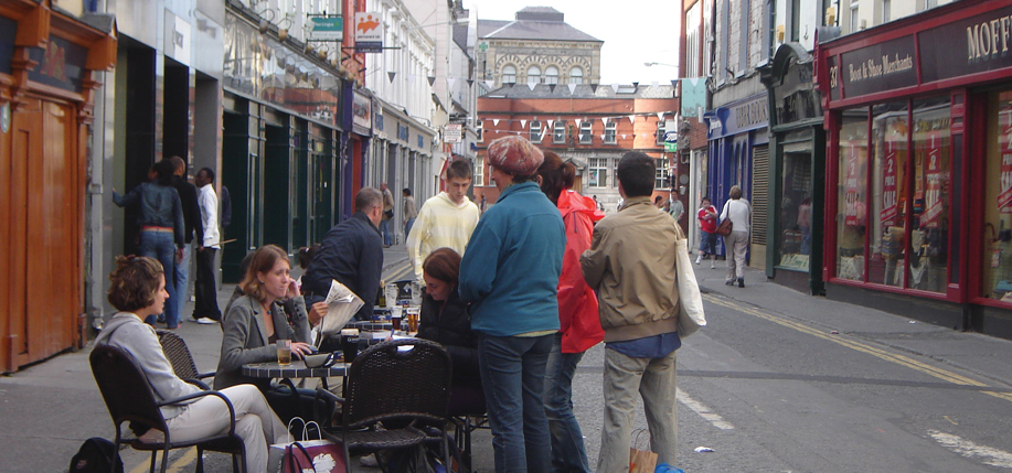 Summer school students, including Bridget English, second from left, outside McGarrigle's Pub on O'Connell Street in Sligo