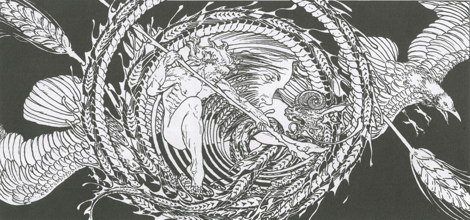 An illustration of the god Lugh of Irish folklore
