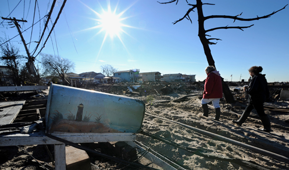 The aftermath of Hurricane Sandy in Breezy Point, Queens. Photo: Peter Foley.