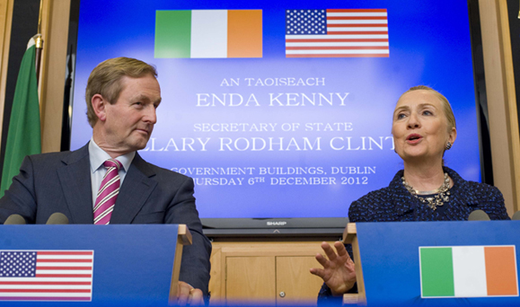 Enda Kenny and Hillary Clinton in Dublin on December 6. Photo: Fine Gael