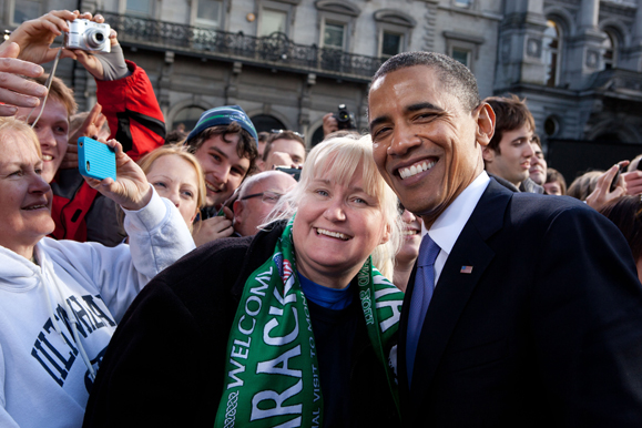 Megan Smolenyak and President Barack Obama in Dublin, May 2011. Official White House Photo by Pete Souza.