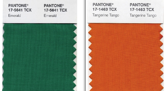 Emerald, Pantone Color of the Year 2013, and Tangerine Tango, Pantone's Color of 2012.