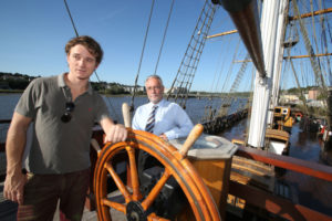 Bobby Kennedy III with Sean Reidy, CEO of the JFK Trust, New Ross aboard the Dunbrody Famine Ship to mark the opening of the JFK Summer School. Photo: Patrick Browne.