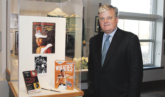 James J. Houlihan, curator of the Fighting Irishmen exhibition, at the Phoenix opening. Photo: Mike Moore.