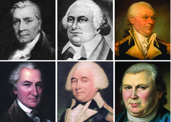 "Some of the founding Friendly Sons. Top row: Thomas Fitzsimons, Stephen Moylan and John Barry. Bottom Row: John Dickinson, General ""Mad"" Anthony Wayne and Robert Morris."