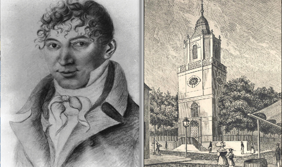 William Sampson, the Irish Protestant who argued People v. Phillips; A sketch of old St. Peter's Roman Catholic Church on Barclay Street in NY.