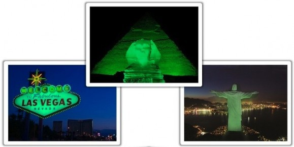 "The ""Welcome"" sign in Las Vegas, The Sphinx and Great Pyramid at Giza, and Christ the Redeemer in Rio de Janiero""greened"" by Tourism Ireland. Image: Tourism Ireland"