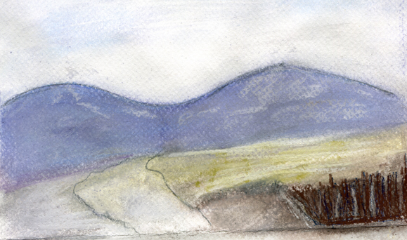 Two side-by-side hills in County Kerry are known as The Paps of Anu, the Earth goddess. Pastel on paper by Patricia Harty.