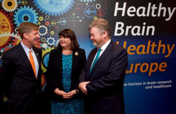 Patrick Kennedy, Co-Fonder One Mind Research; Commissioner Máire Geoghegan Quinn; Dr James Reilly, Irish Minister for Health