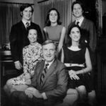 "A January 1971 portrait of Ohio's new first family, printed in the Columbus Dispatch ""With Gov.-elect John J. Gilligan and his wife, Katie, are their four children (from left): John (a Dartmouth College senior); Ellen (a high school senior); Kathleen (who graduated from Trinity College last June and since has been working in her father's campaign); and Donald (a teacher at Bishop Hartley High School)."""