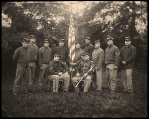 Members of the 69th NYSV Historical Association in a half plate tin type photograph by Robert Szabo. Photo courtesy of the 69th NYSV Historical Association.