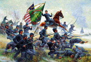 "The Irish Brigade at Antieam. Their battly cry was ""Faugh a Ballagh."""