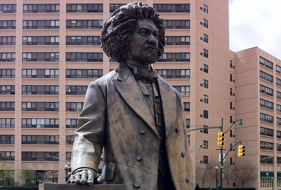 The Frederick Douglass statue on 110th Street in Manhattan. Photo: Sheila Langan.