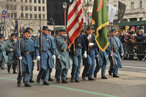 The 69th NYSV Historical Association marches in the New York S. Patrick's Day Parade. Photo courtesy of the 69th NYSV Historical Association.