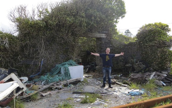 "Professor Al Gillespie in the Slate Yard – the site of Valentia Island's ""buried treasure."" Photo: Stephanie Buffum Field"