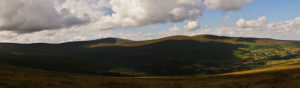 View of the nature and windy roads through the Wicklow Mountains, County Wicklow.