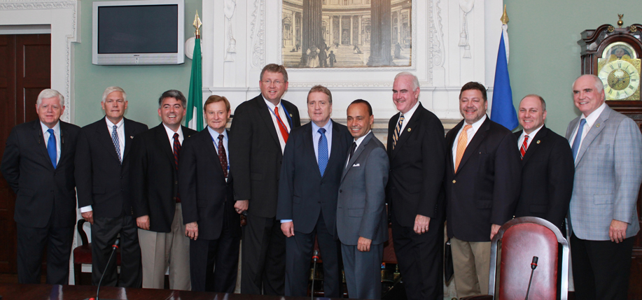 Congressman John Larson (CT), Pete Sessions (TX), Cory Gardner (CO), Spenser Bachus (AL), Eric Paulsen (MN) Chairman of the Oireachtas Committee on Foreign Affairs Pat Breen T.D, Luis Gutlerrez (IL) , Patrick Meehan (PA) , Bill Shuster (PA), Steve Scalise (LA), John Larson (CT), Mike Kelly (PA) at Leinster House.