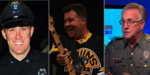 Three of the heroes being honored: MBTA Officer Richard Donohue, Ken Casey of the Dropkick Murphys, and Lt. J. Paul Vance, Commanding Officer, CT State Police Public Information Office.